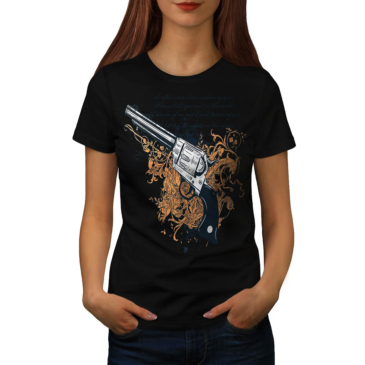 Deadly Weapon Pistol Gun Battle Women Black T-shirt | Wellcoda