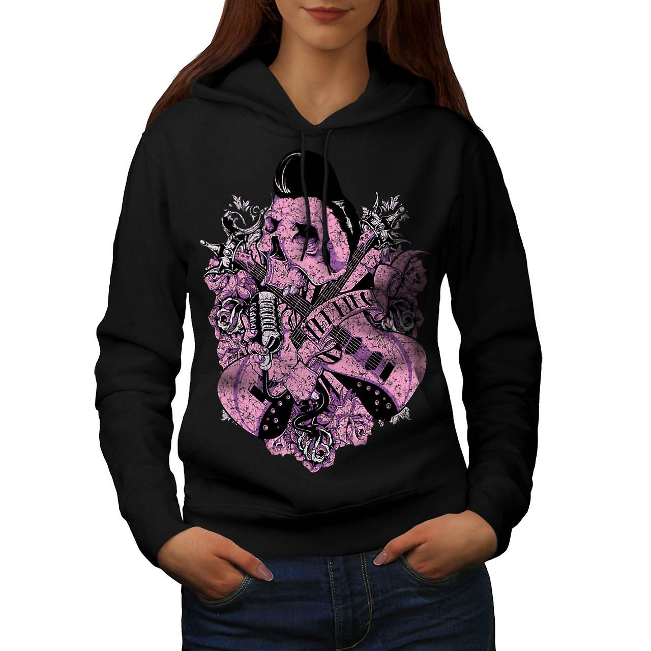 Rock N Roll Skull Music Women Black Hoodie | Wellcoda