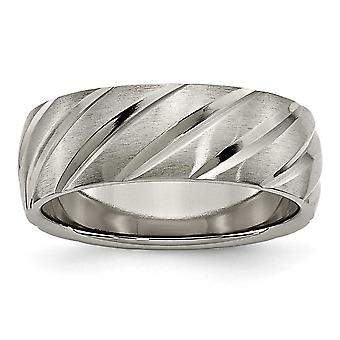 Titanium Grooved Engravable Swirl Design 8mm Satin Band Ring - Ring Size: 7 to 13