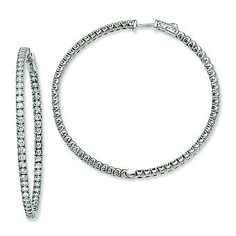 Sterling Silver Cubic Zirconia Round Hoop Earrings