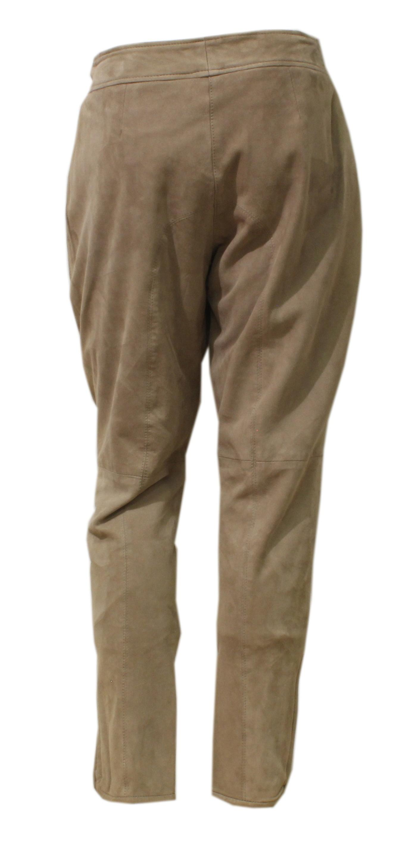 Chello - suede lederhosen with multi colored fold Womens pants Goatsuede velour beige