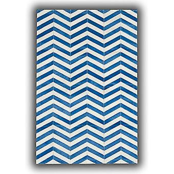 Rugs - Patchwork Leather Strips Cowhide - Arrow Blue & White