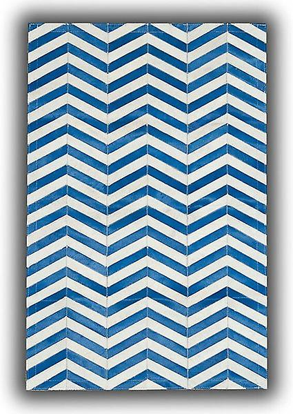 Rugs -Patchwork Leather Strips Cowhide - Arrow bleu & blanc