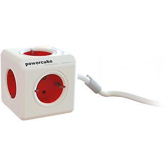 Powercube Extended 5 Sockets 1, 5 m, Red