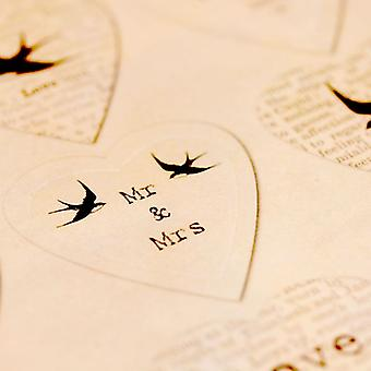 East of India Sheet of 35 Wedding Stickers Vintage Style DIY Favours