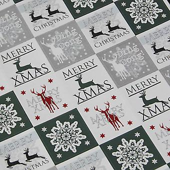 Luck and Luck Christmas Stickers - Snowflake and Reindeer in White Green x 35 Xmas