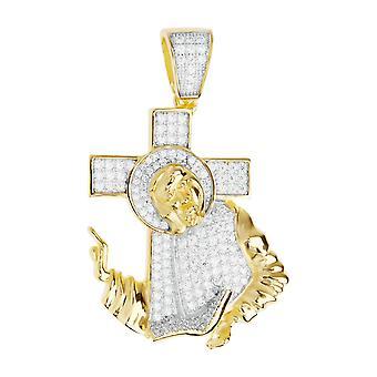 Premium Bling - 925 sterling silver Jesus cross pendant