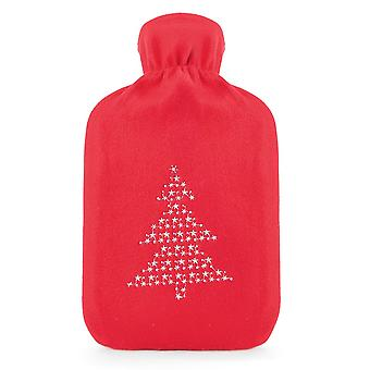 Kids Christmas Tree Embroidered Soft Fleece Covered Rubber Hot Water Bottle