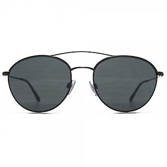 Giorgio Armani Frames Of Life Double Bridge Round Sunglasses In Matte Black