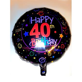Foil Balloon 40th BIRTHDAY Black