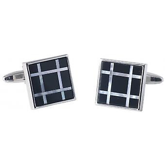 David Van Hagen Mother of Pearl and Onyx Check Square Cufflinks - Silver/Black/White