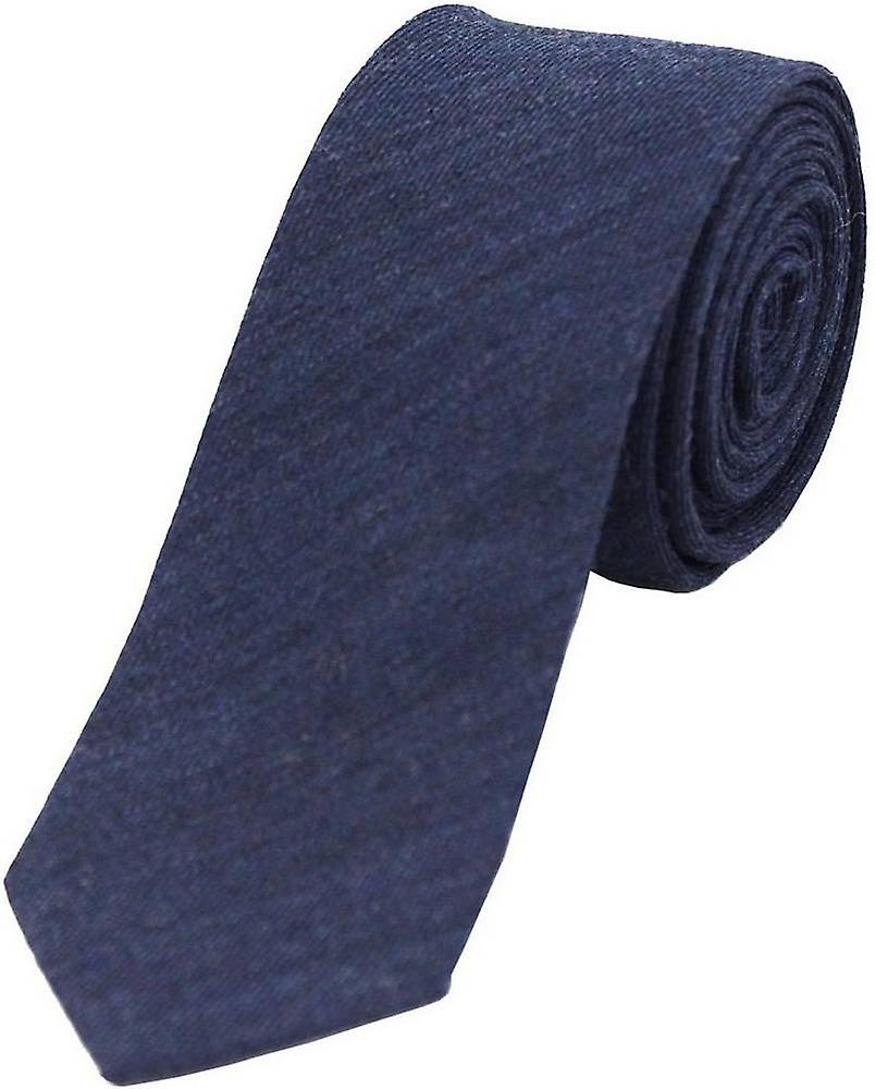 David Van Hagen Plain Wool Rich Thin Tie - Navy