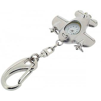 Gift Time Products Aeroplane Clock Key Ring - Silver