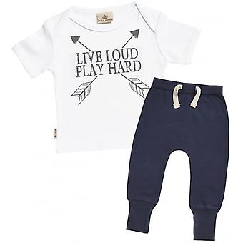 Spoilt Rotten Live Loud Baby T-Shirt & Navy Joggers Outfit Set