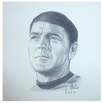 Robert Tomlin Star Trek Scotty Portrait 12 X 12cm By Robert Tomlin