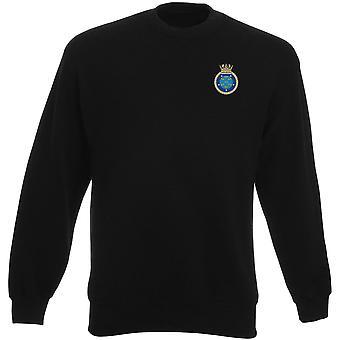 HMS Manchester geborduurd Logo - officiële Koninklijke Marine Heavyweight Sweatshirt