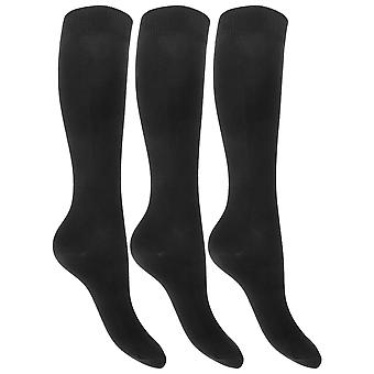 Childrens Girls Plain Knee High Cotton Rich Socks With Stretch (Pack Of 3)