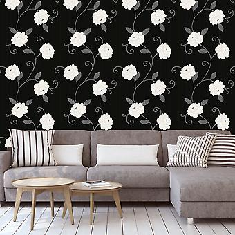 Flower Wallpaper Puccini Floral Trail Metallic Leaf Black Grey Silver Debona