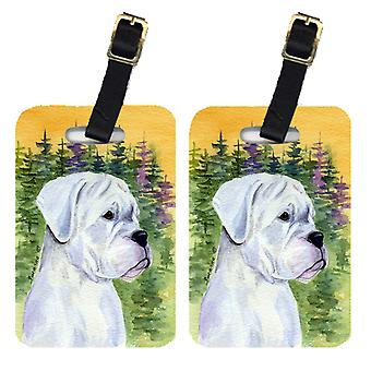 Carolines Treasures  SS8198BT Pair of 2 Boxer Luggage Tags