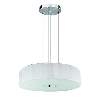 Chrome And Glass Pendant With White String Shade - Searchlight 7156wh