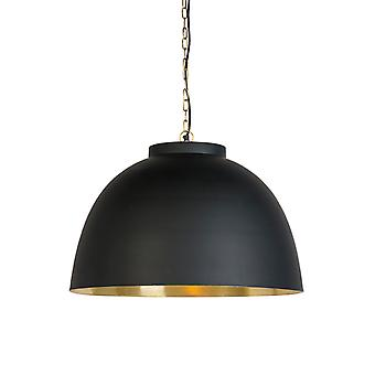 QAZQA Industrial Round Pendant Lamp Large Black with inner Brass Shade - Hoodi