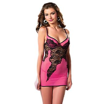 Be Wicked BW1446 2-Piece Hot Pink & Black Chemise with lace