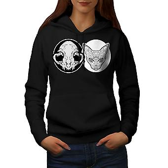 Kraniet dyr Metal kat kvinder BlackHoodie | Wellcoda