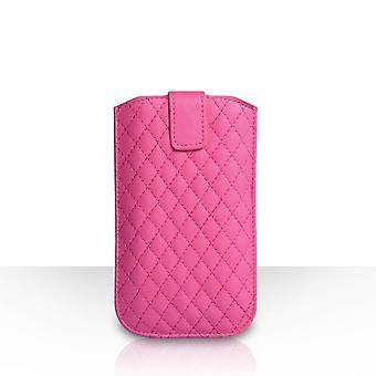 Diamant mønster PU læder etui (M) - Hot Pink