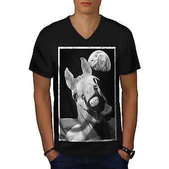 Horse Space Funny Men BlackV-Neck T-shirt | Wellcoda