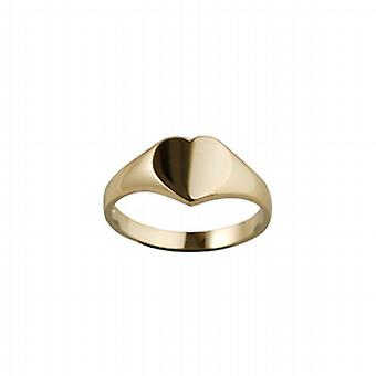 9ct Gold 9x9mm solid plain heart shaped Signet Ring Size Q