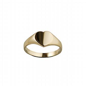 9ct Gold 9x9mm solide einfache herzförmige Siegelring Größe Q