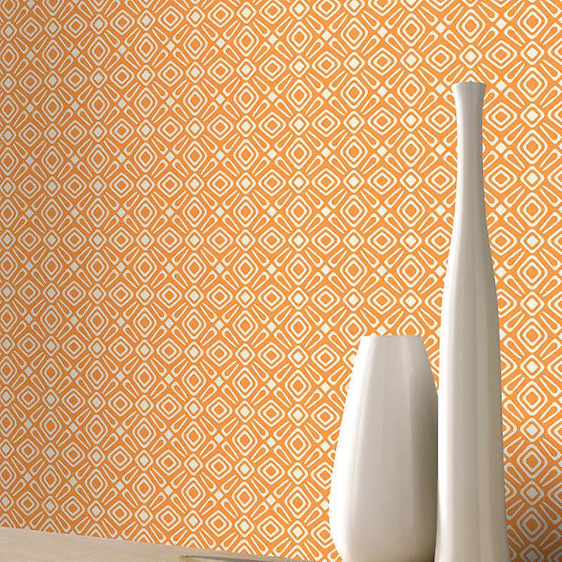Geometric Wallpaper Modern Retro Shapes Bright Orange Silver Off White Rasch