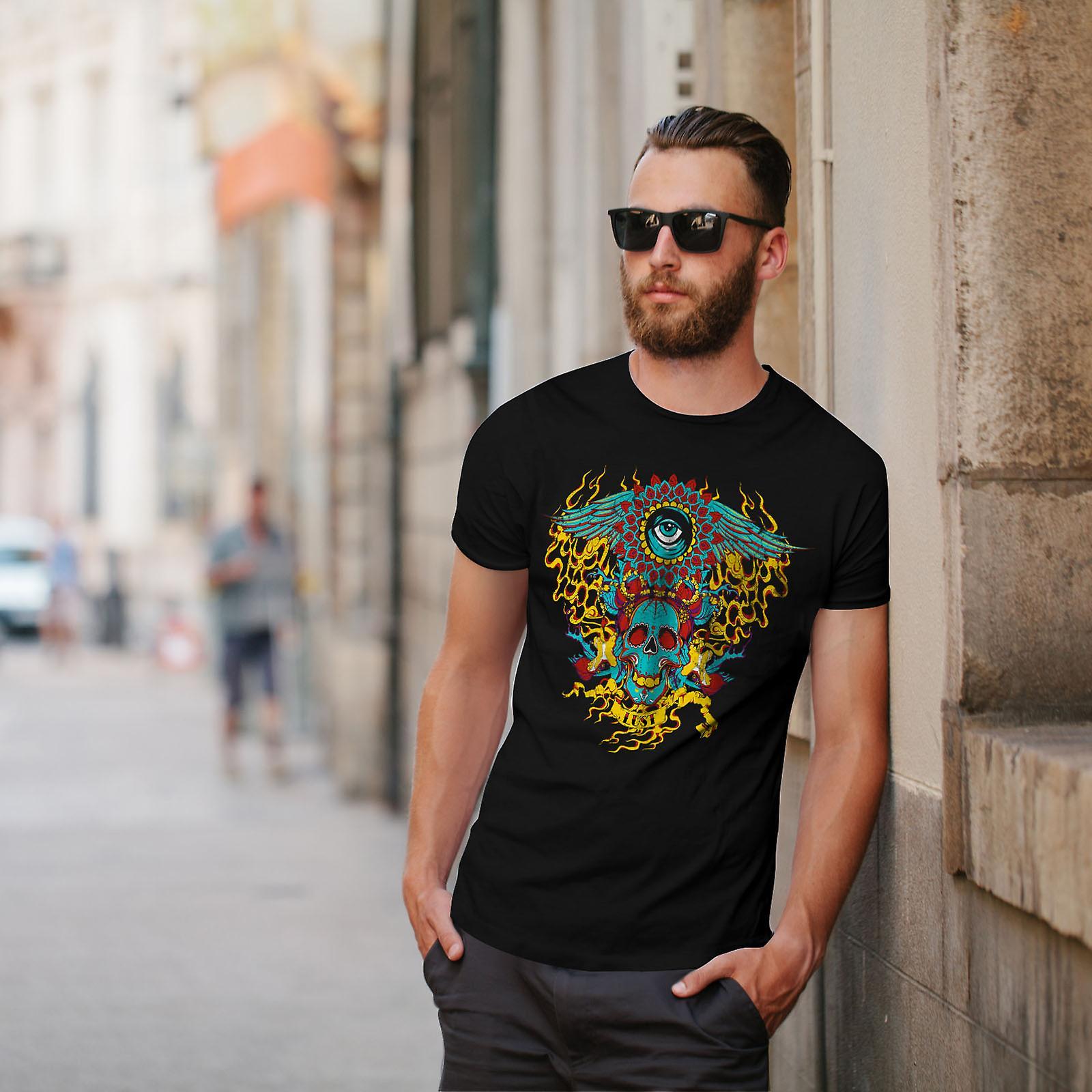 Heart Flame Eye Skull Men Black T-shirt | Wellcoda