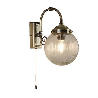 Belvue Antique Brass Single Bathroom Wall Light With Ribbed Glass - Searchlight 3259ab