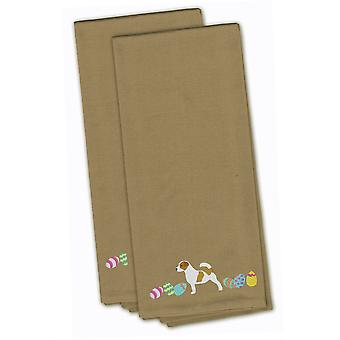 Jack Russell Terrier Easter Tan Embroidered Kitchen Towel Set of 2