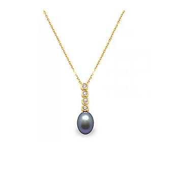 Pendant black Freshwater Pearl of Culture, diamond and yellow gold 750/1000