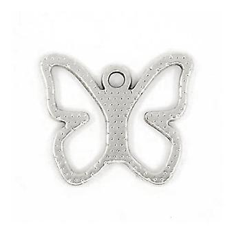 Packet 15 x Antique Silver Tibetan 19mm Butterfly Charm/Pendant ZX13930