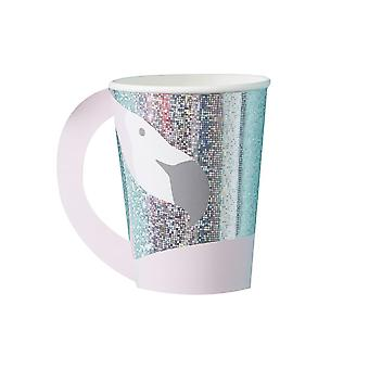 Flamingo Shaped Holographic Paper Party Cups x 8