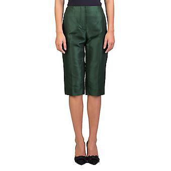 Prada Women's zijde Capris broek smaragd groen