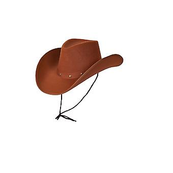 Adults Brown Country Western Texan Cowboy Fancy Dress Accessory Hat