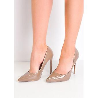 Patent Stiletto Pointy Toe High Heels Court Shoes Brown