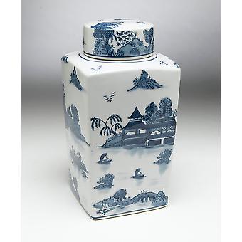 AA importación 59745 azul de 12 pulgadas y tarro cuadrado blanco