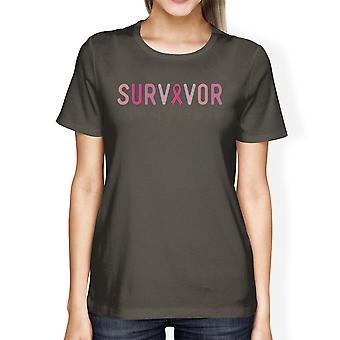 Survivor Breast Cancer Support Tshirt Womens Dark Grey Graphic Tee