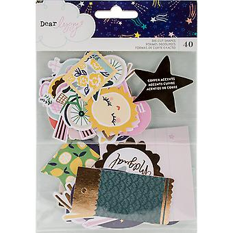 Dear Lizzy Star Gazer Ephemera Cardstock Die-Cuts 40/Pkg-W/Copper Foil Accents