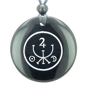 Universe Ancient Money Sigil Talisman Black Onyx Magic Gemstone Circle Spiritual Pendant Necklace