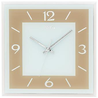 Wall clock quartz analog Brown light brown square with glass quietly without ticking 30 x 30 cm