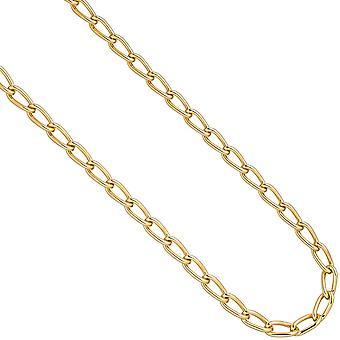 Krawężnika długi łańcuch 925 srebro złoto pozłacana 6,9 mm 45 cm łańcuch naszyjnik