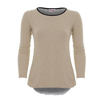 Ladies Long Sleeve Thin Textured Open Back Bow Lace Underlay Casual Top