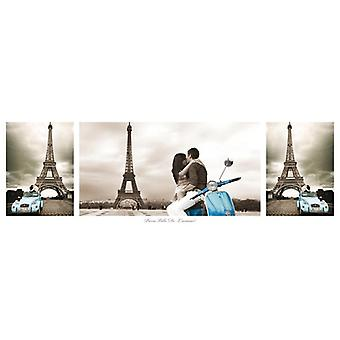 Paris posters - Eiffel Tower triptyque collage Paris Ville de L'Amour-small format T rposter