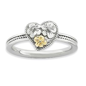 2.25mm 925 Sterling Silver Polished Rhodium-plated and 14k Stackable Expressions Diamond Heart Ring - Ring Size: 5 to 10